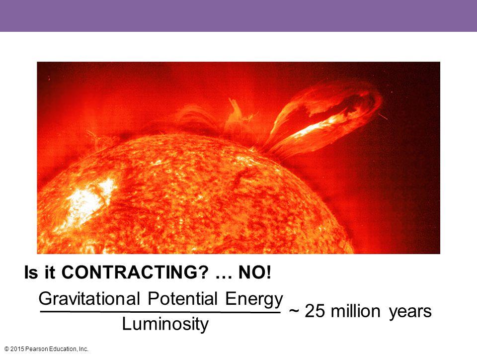 Gravitational Potential Energy ~ 25 million years Luminosity