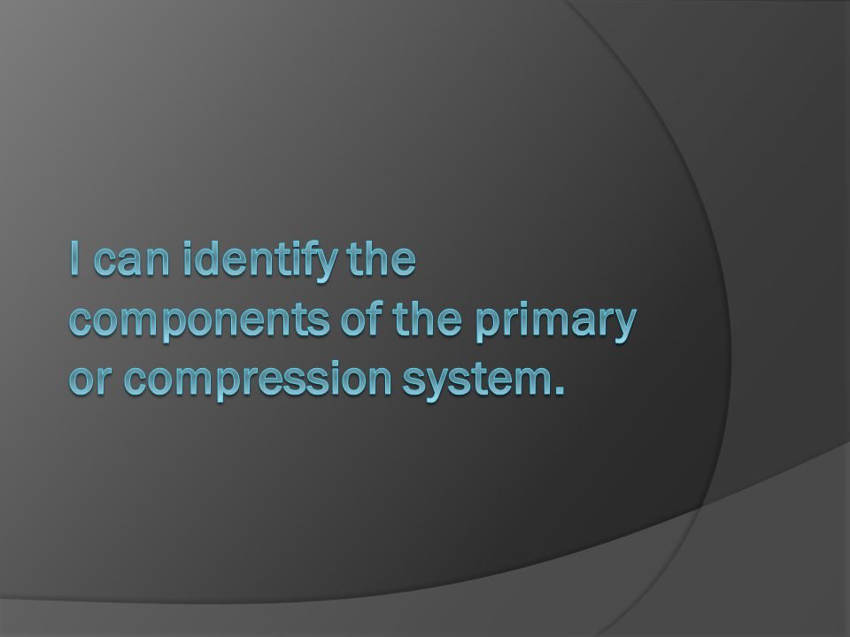 I can identify the components of the primary or compression system.