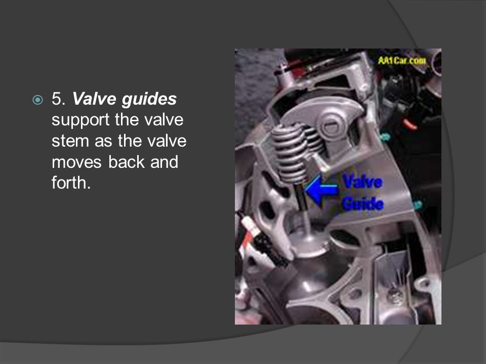 5. Valve guides support the valve stem as the valve moves back and forth.