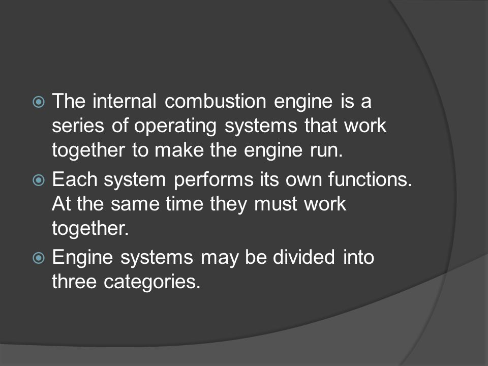 The internal combustion engine is a series of operating systems that work together to make the engine run.