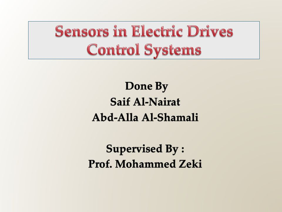 Sensors in Electric Drives Control Systems