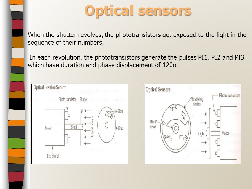 Optical sensors When the shutter revolves, the phototransistors get exposed to the light in the sequence of their numbers.