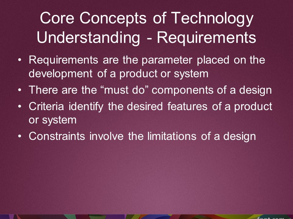 Core Concepts of Technology Understanding - Requirements