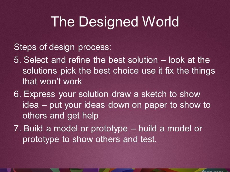 The Designed World Steps of design process: