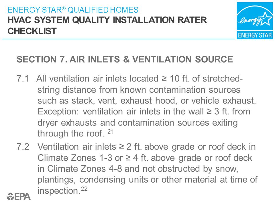 SECTION 7. AIR INLETS & VENTILATION SOURCE
