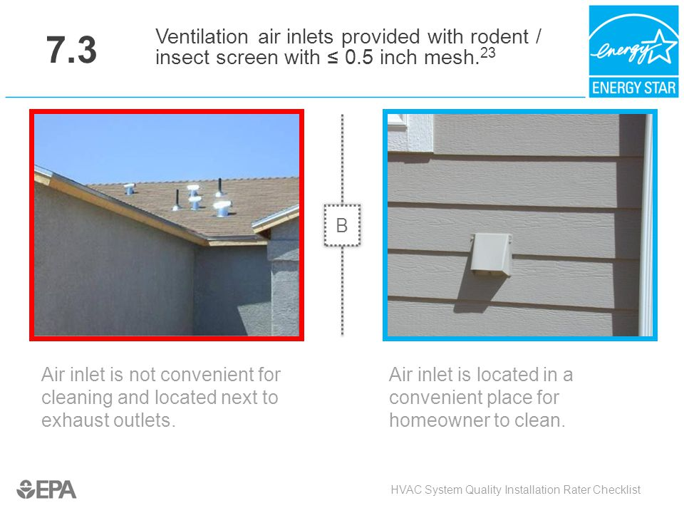 7.3 Ventilation air inlets provided with rodent / insect screen with ≤ 0.5 inch mesh.23. B. Critical Point: