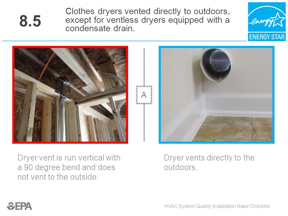 8.5 Clothes dryers vented directly to outdoors, except for ventless dryers equipped with a condensate drain.