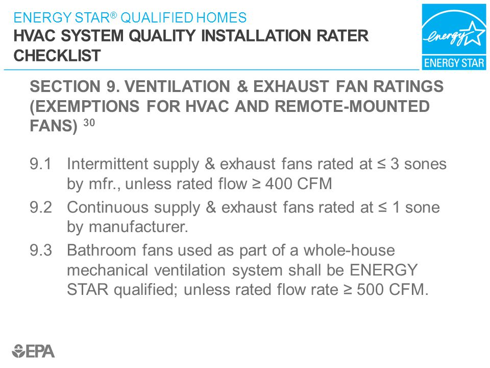 SECTION 9. VENTILATION & EXHAUST FAN RATINGS (EXEMPTIONS FOR HVAC AND REMOTE-MOUNTED FANS) 30