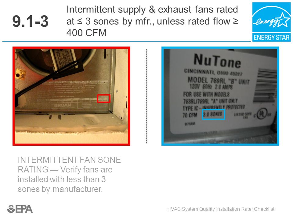 9.1-3 Intermittent supply & exhaust fans rated at ≤ 3 sones by mfr., unless rated flow ≥ 400 CFM. Critical Point:
