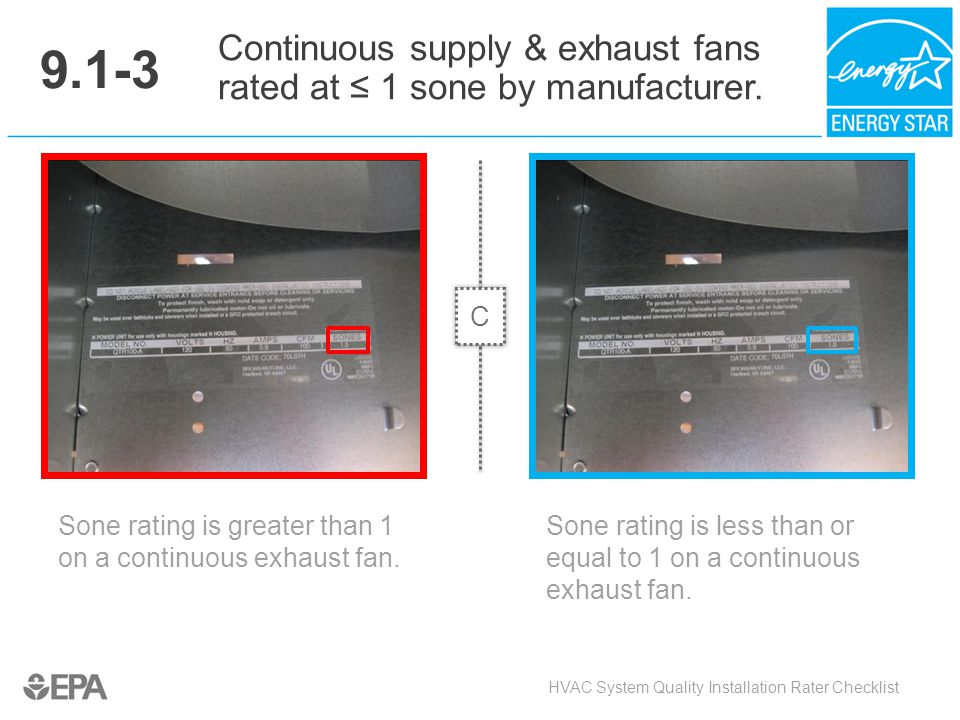 9.1-3 Continuous supply & exhaust fans rated at ≤ 1 sone by manufacturer. C. Critical Point: Air Quality.