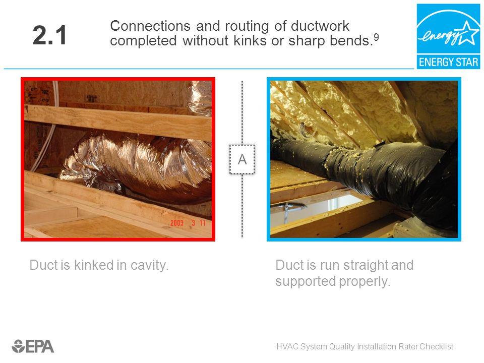 2.1 Connections and routing of ductwork completed without kinks or sharp bends.9. A. Critical Point: