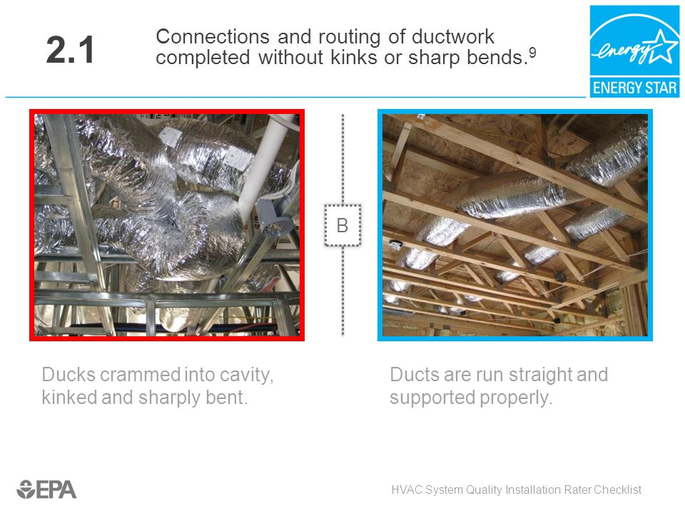 2.1 Connections and routing of ductwork completed without kinks or sharp bends.9. B. Critical Point: