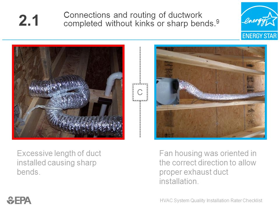 2.1 Connections and routing of ductwork completed without kinks or sharp bends.9. C. Critical Point: