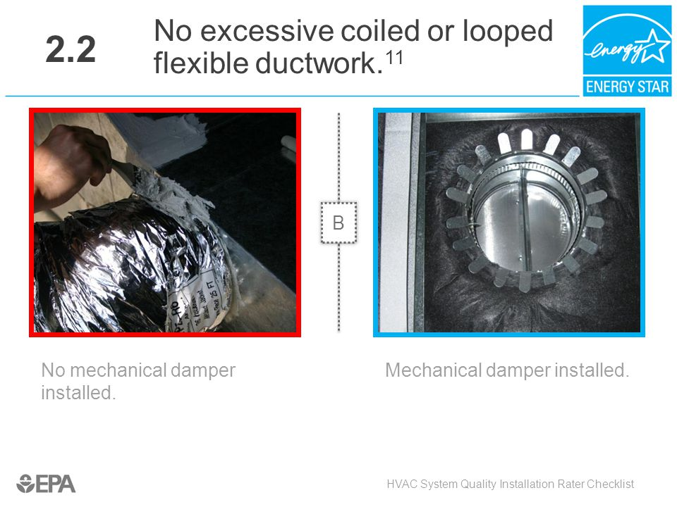 2.2 No excessive coiled or looped flexible ductwork.11 B