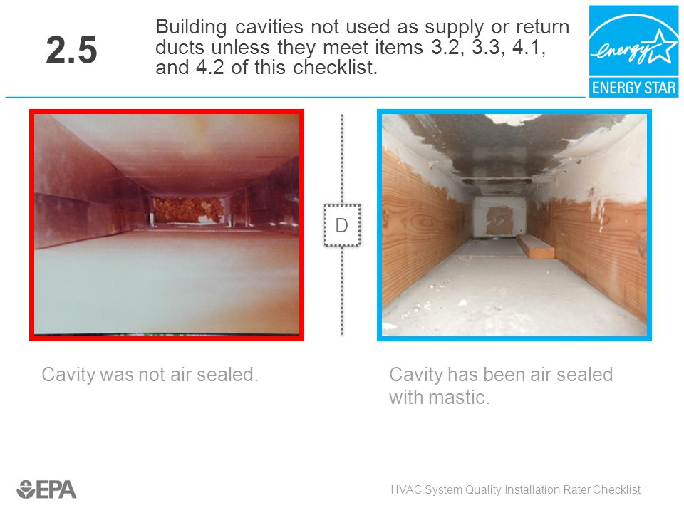 2.5 Building cavities not used as supply or return ducts unless they meet items 3.2, 3.3, 4.1, and 4.2 of this checklist.