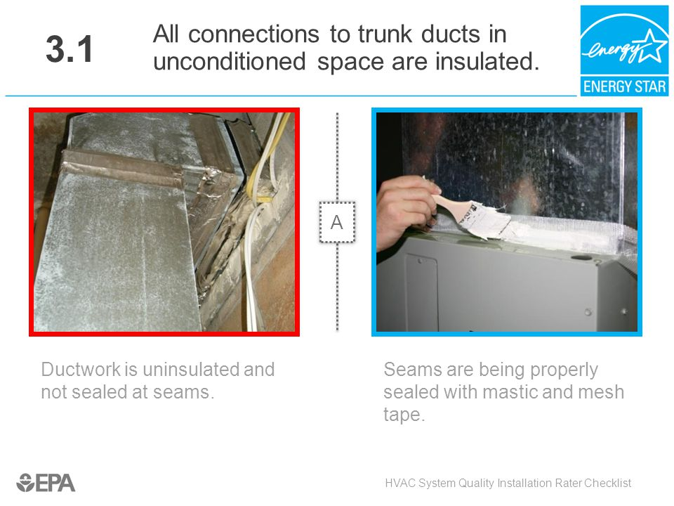 3.1 All connections to trunk ducts in unconditioned space are insulated. A. Critical Point: Air Flow, Heat Flow.