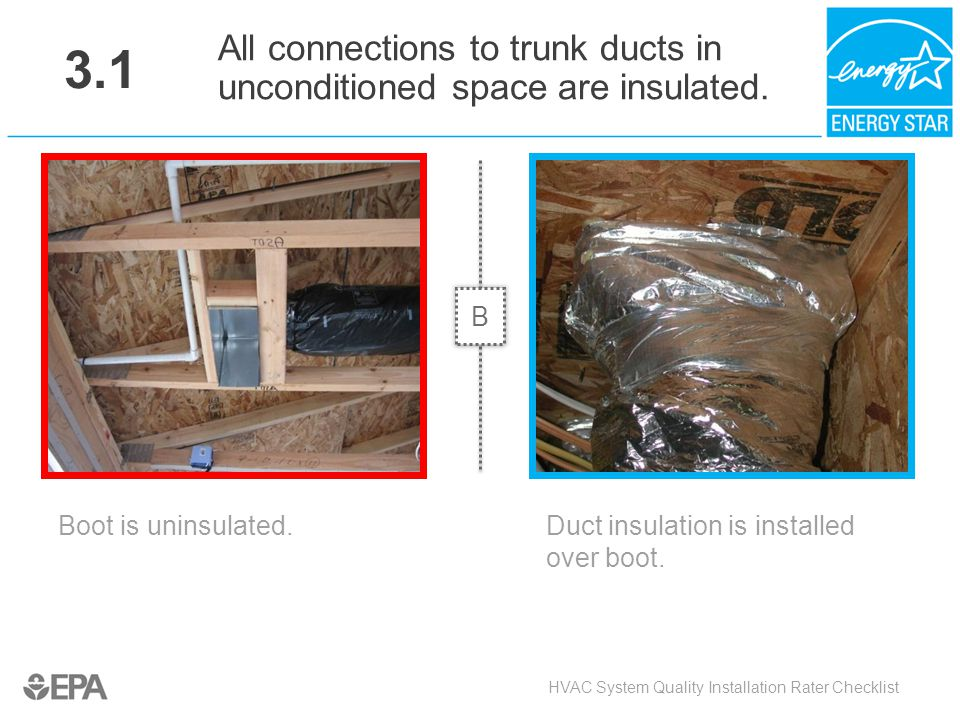 3.1 All connections to trunk ducts in unconditioned space are insulated. B. Critical Point: Heat Flow, Moisture flow.