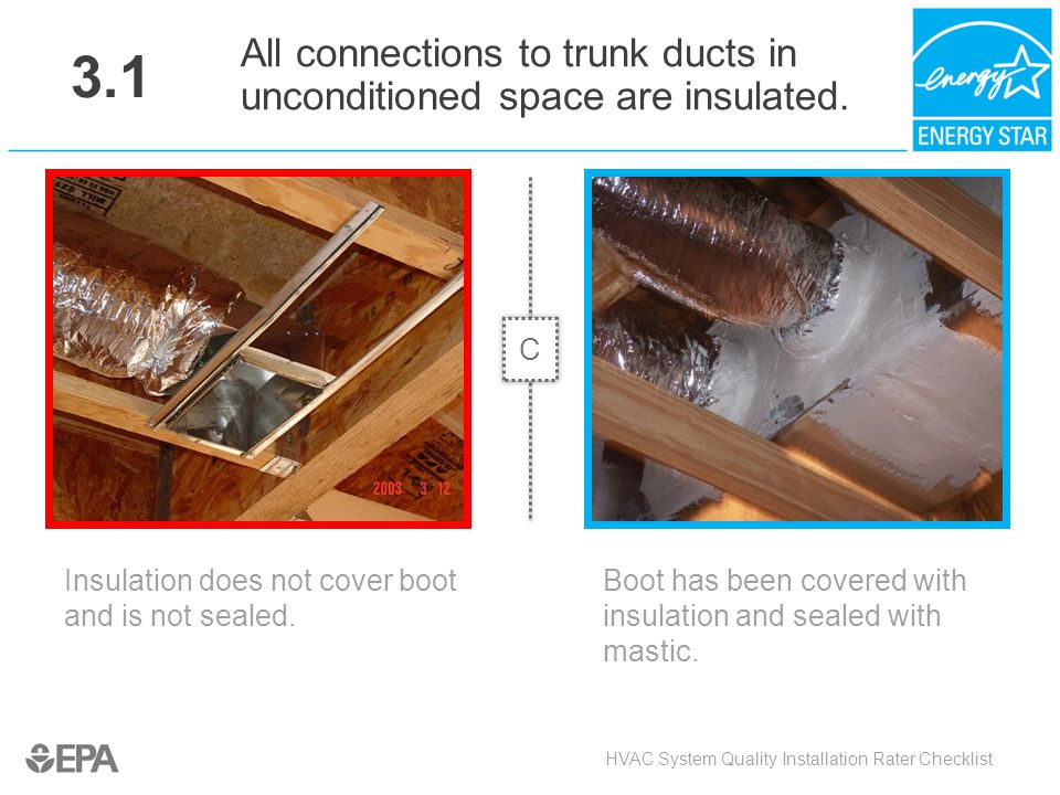 3.1 All connections to trunk ducts in unconditioned space are insulated. C. Critical Point: Air Flow, Heat Flow.