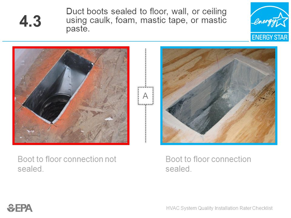 4.3 Duct boots sealed to floor, wall, or ceiling using caulk, foam, mastic tape, or mastic paste. A.