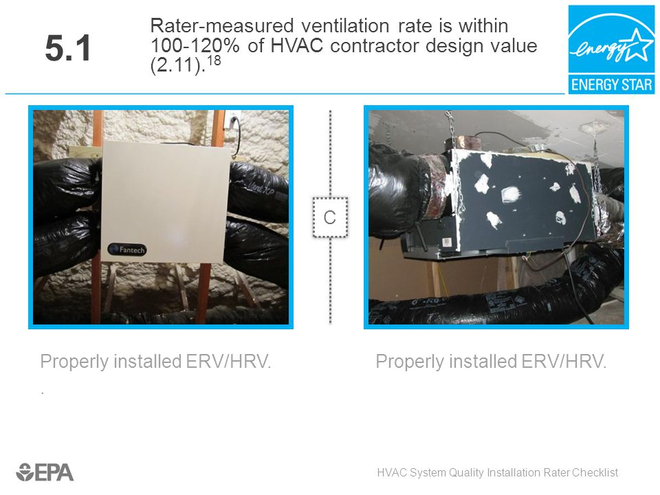 5.1 Rater-measured ventilation rate is within 100-120% of HVAC contractor design value (2.11).18. C.