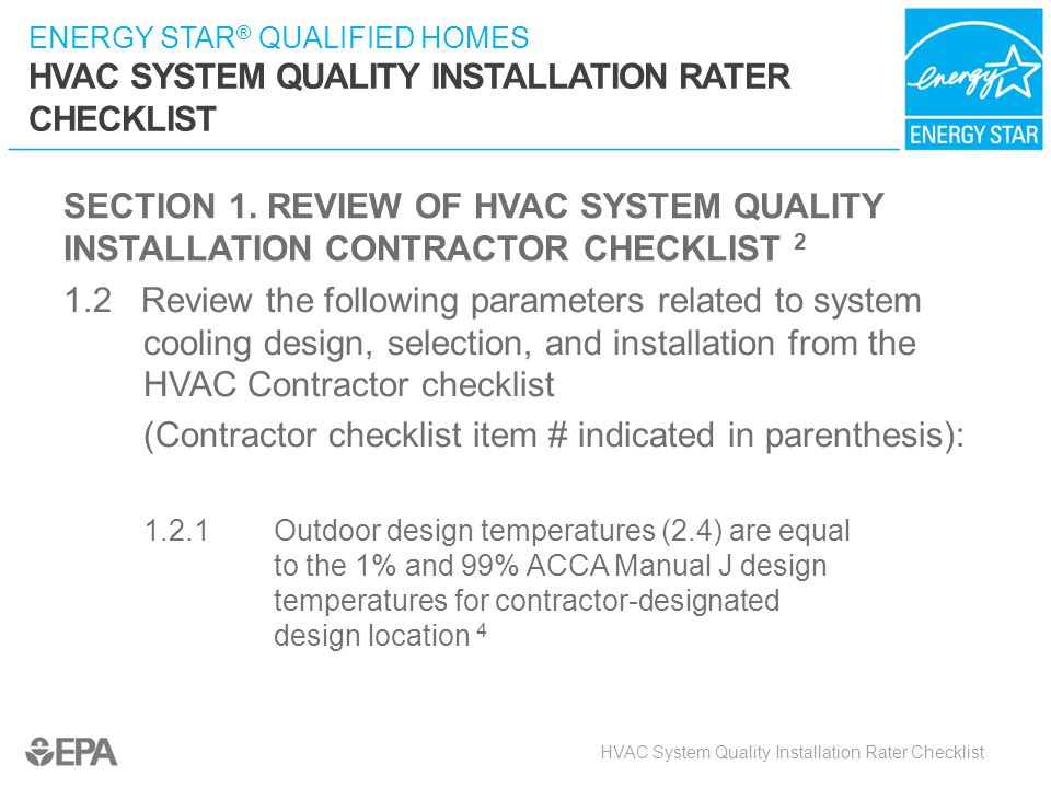 (Contractor checklist item # indicated in parenthesis):
