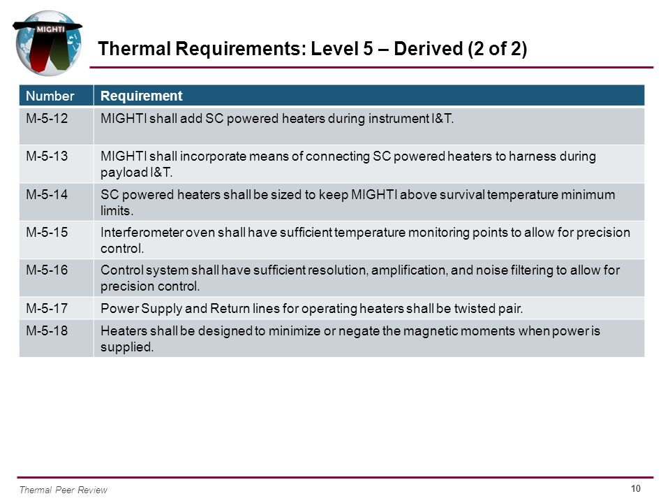 Thermal Requirements: Level 5 – Derived (2 of 2)