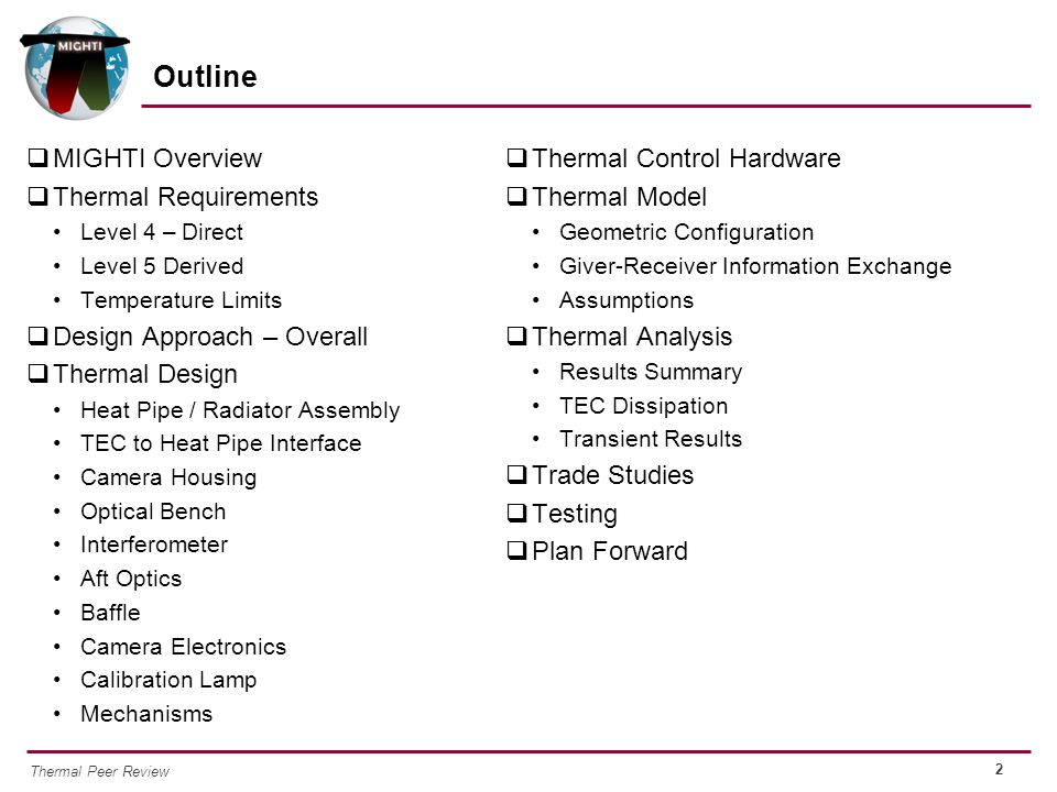 Outline MIGHTI Overview Thermal Requirements Design Approach – Overall