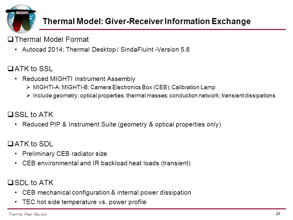 Thermal Model: Giver-Receiver Information Exchange
