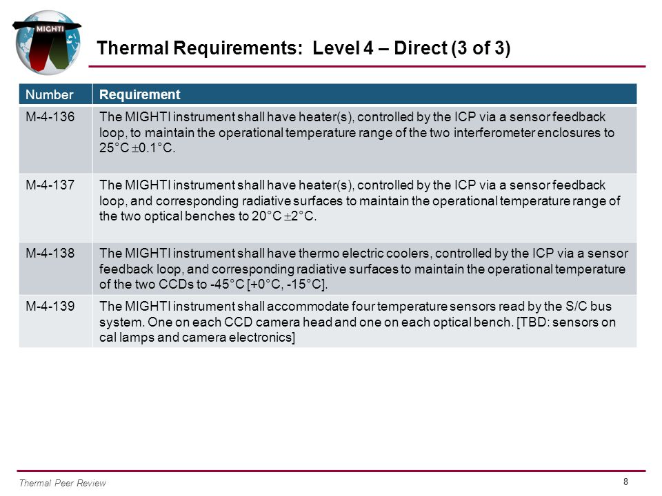 Thermal Requirements: Level 4 – Direct (3 of 3)
