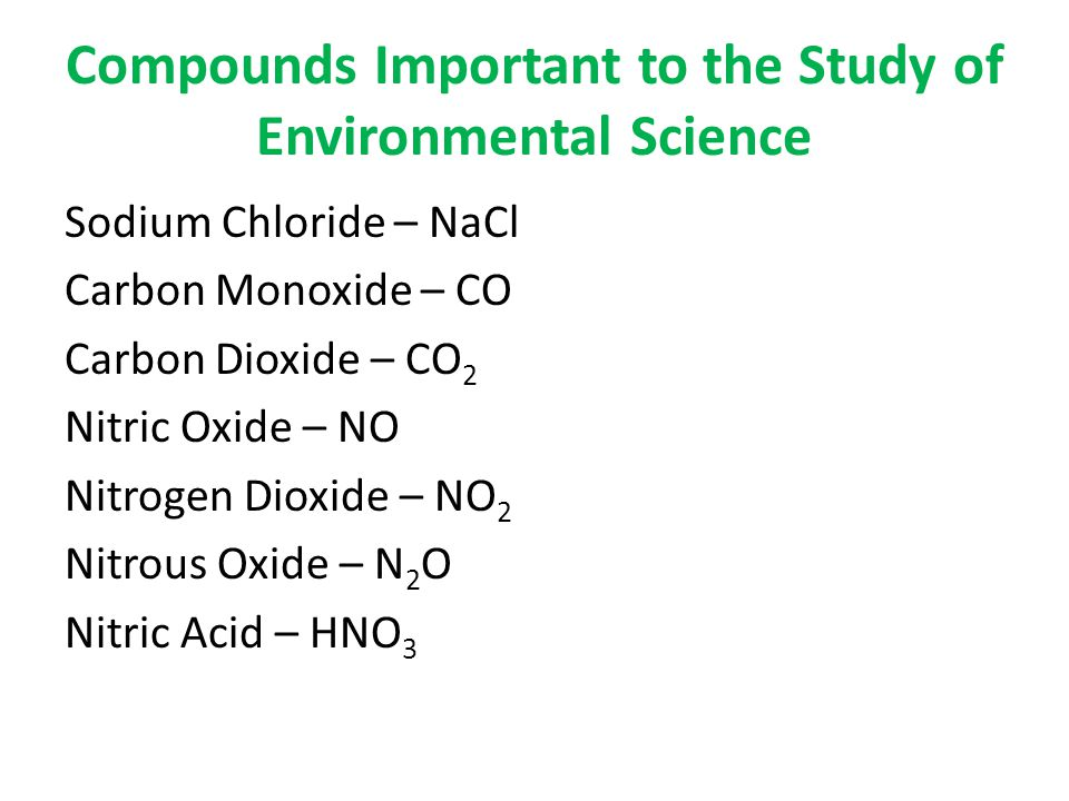 Compounds Important to the Study of Environmental Science