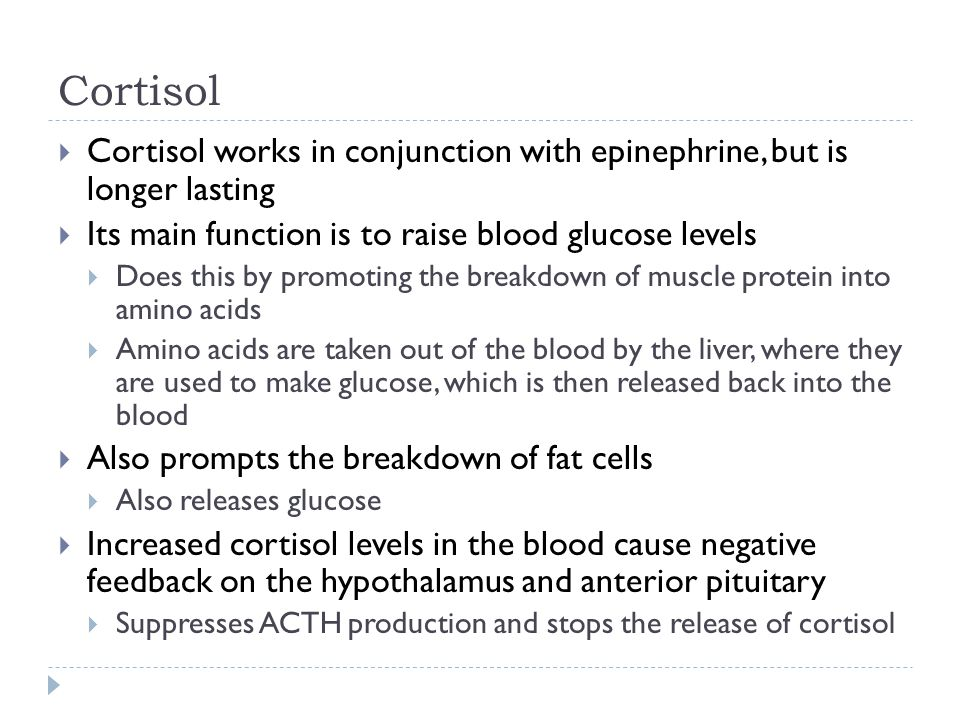 Cortisol Cortisol works in conjunction with epinephrine, but is longer lasting. Its main function is to raise blood glucose levels.