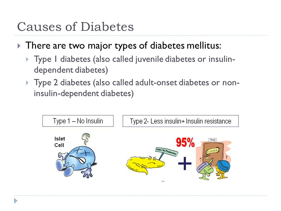 Causes of Diabetes There are two major types of diabetes mellitus: