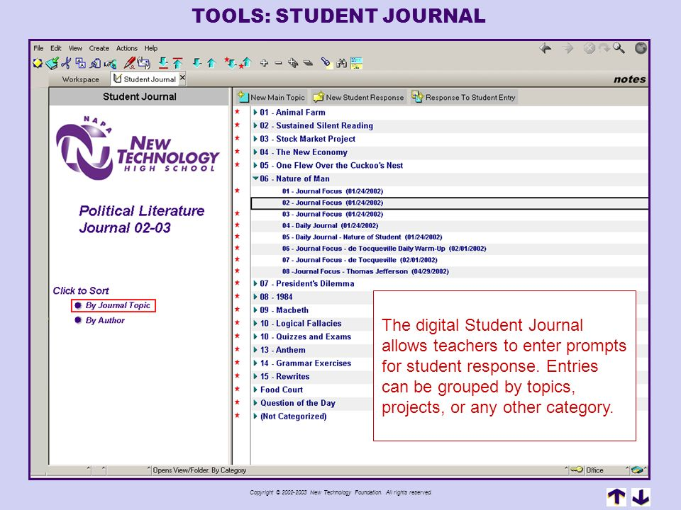 TOOLS: STUDENT JOURNAL