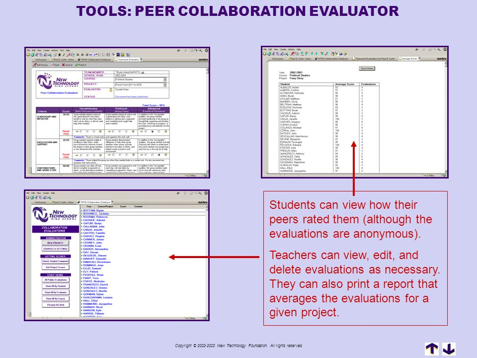 TOOLS: PEER COLLABORATION EVALUATOR