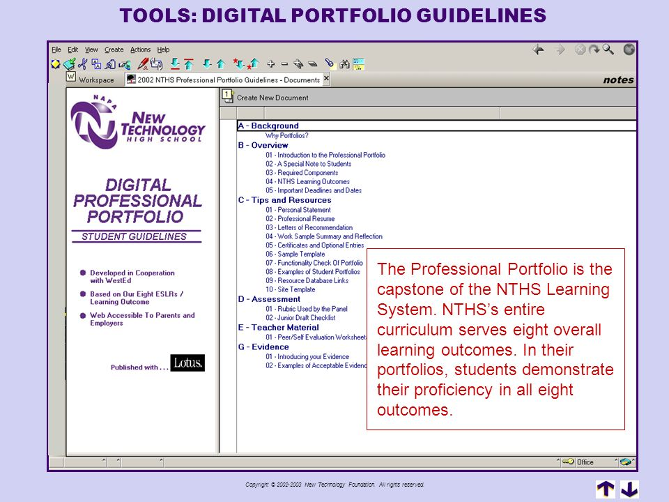TOOLS: DIGITAL PORTFOLIO GUIDELINES