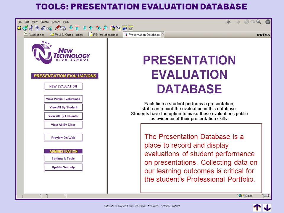 TOOLS: PRESENTATION EVALUATION DATABASE