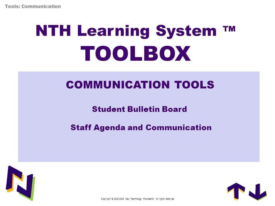 NTH Learning System ™ TOOLBOX
