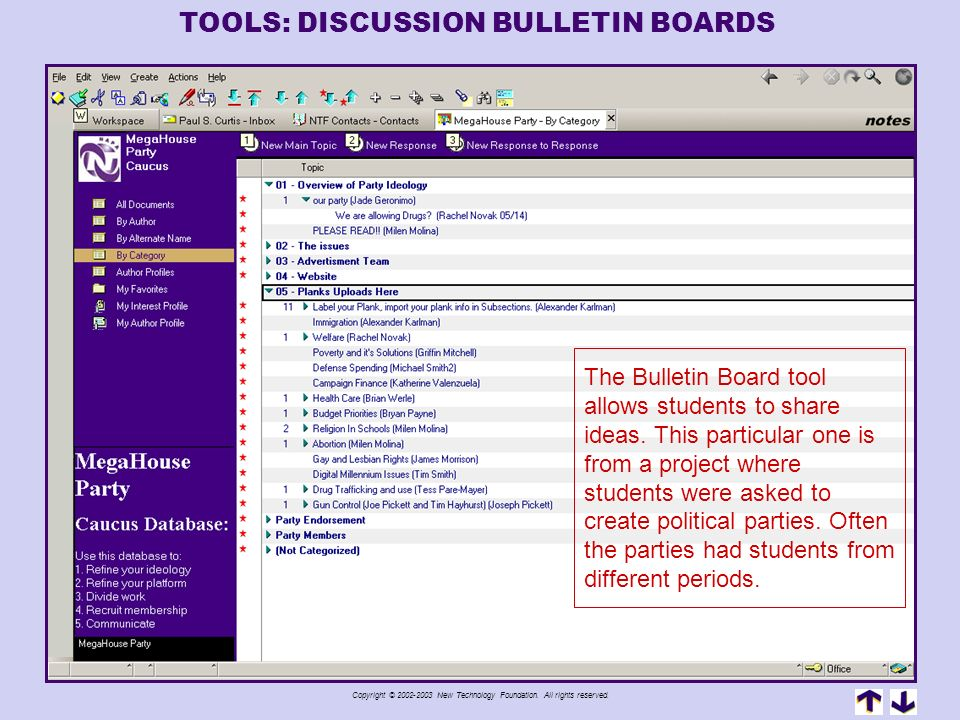 TOOLS: DISCUSSION BULLETIN BOARDS