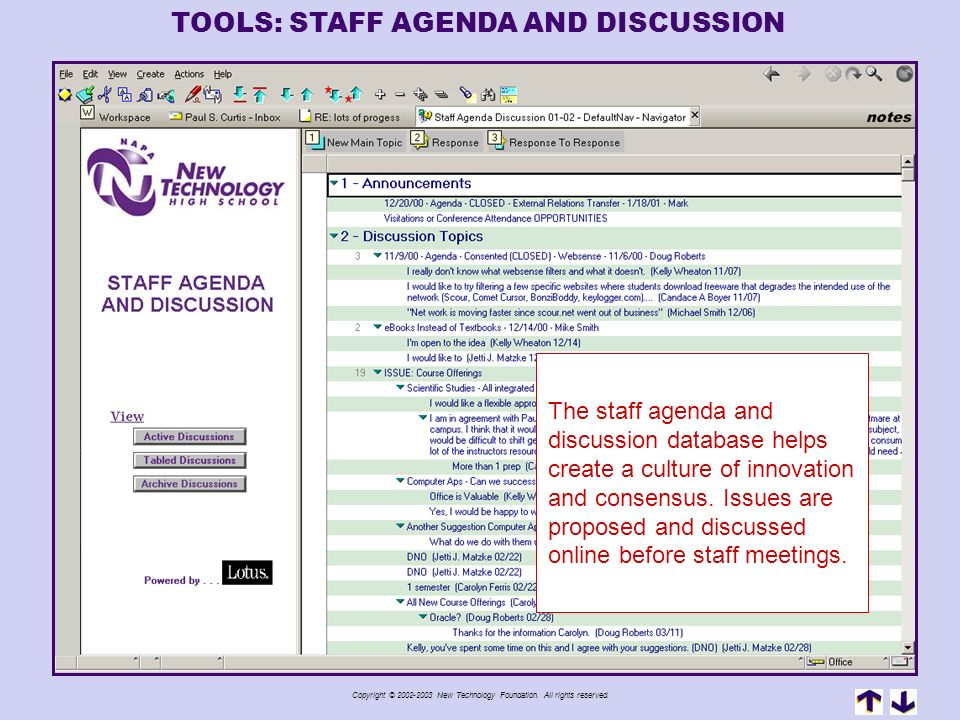 TOOLS: STAFF AGENDA AND DISCUSSION
