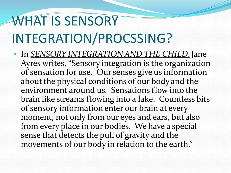 WHAT IS SENSORY INTEGRATION/PROCSSING