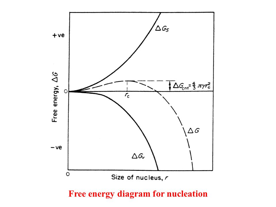 Free energy diagram for nucleation