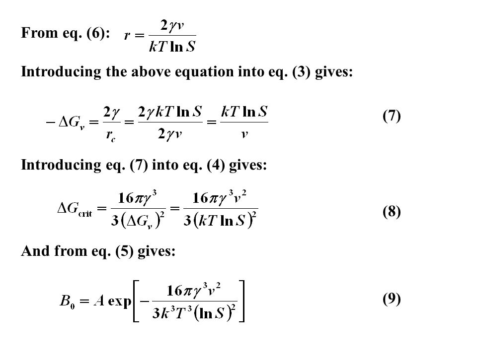 From eq. (6): Introducing the above equation into eq. (3) gives: (7) Introducing eq. (7) into eq. (4) gives:
