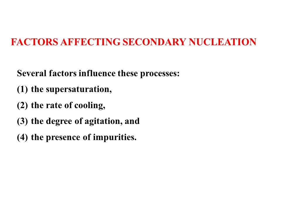 Factors Affecting Secondary NucleatiON