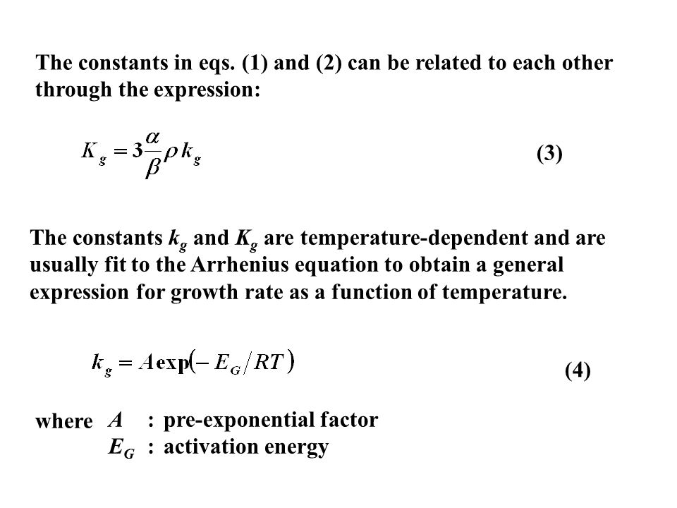 The constants in eqs. (1) and (2) can be related to each other through the expression: