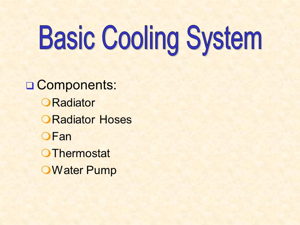 Basic Cooling System Components: Radiator Radiator Hoses Fan