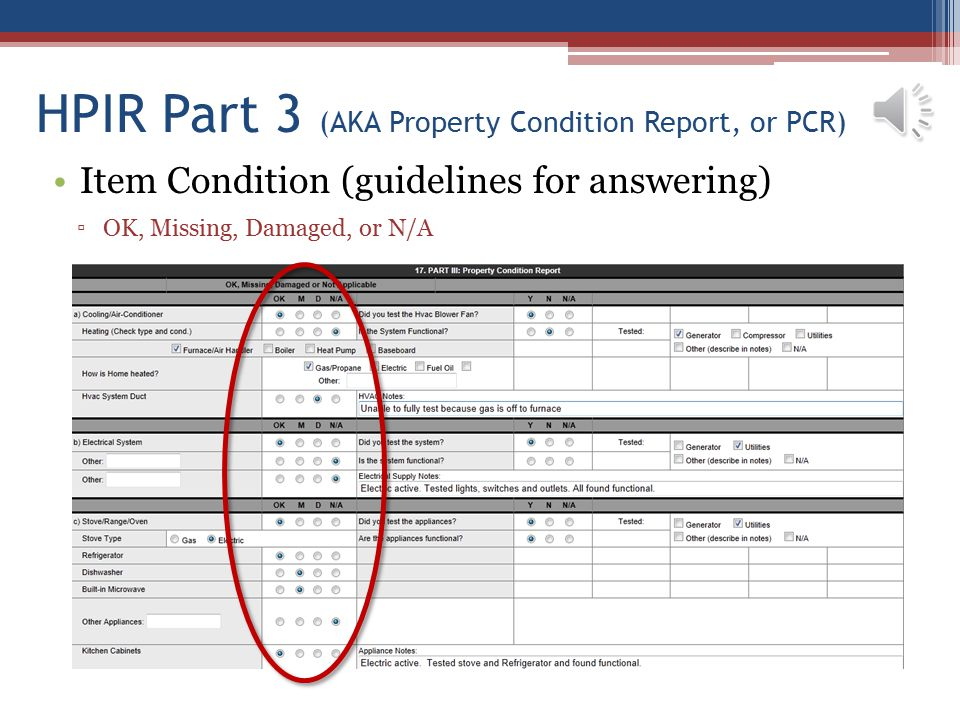 HPIR Part 3 (AKA Property Condition Report, or PCR)