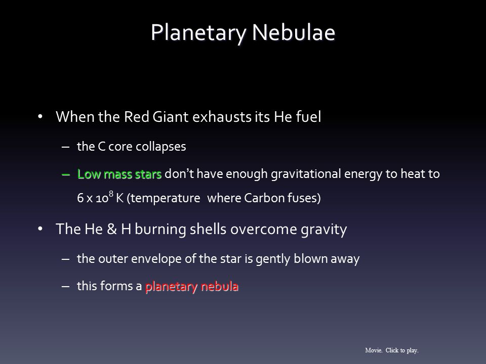 Planetary Nebulae When the Red Giant exhausts its He fuel