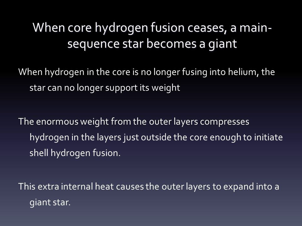 When core hydrogen fusion ceases, a main-sequence star becomes a giant