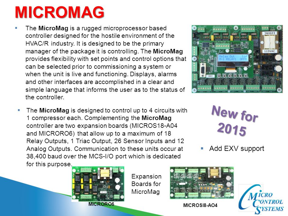 MICROMAG New for 2015 Add EXV support