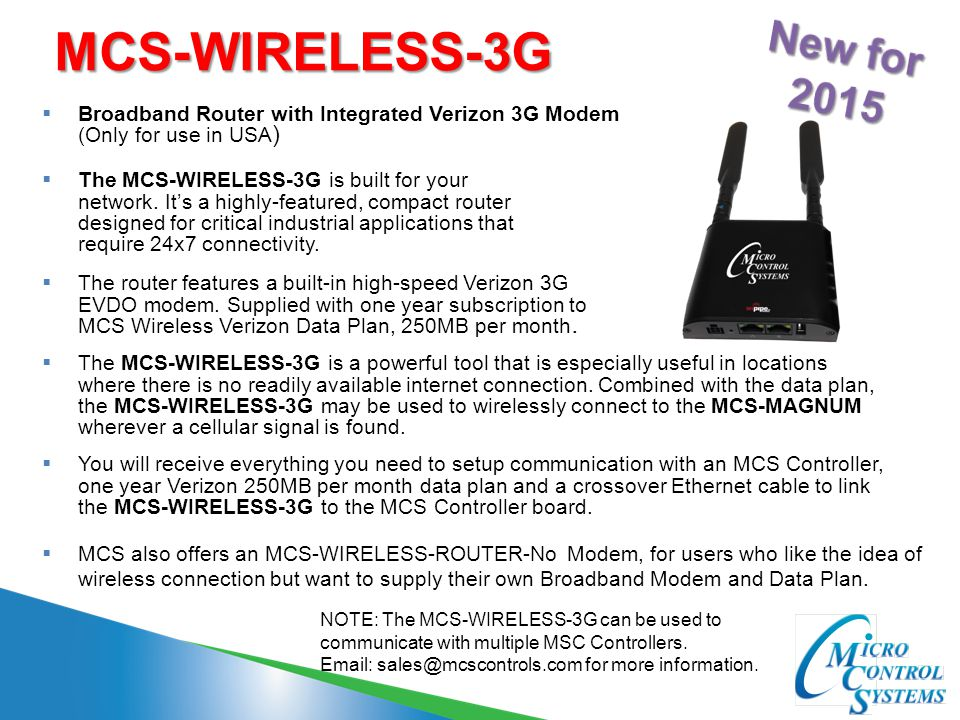 MCS-WIRELESS-3G New for 2015